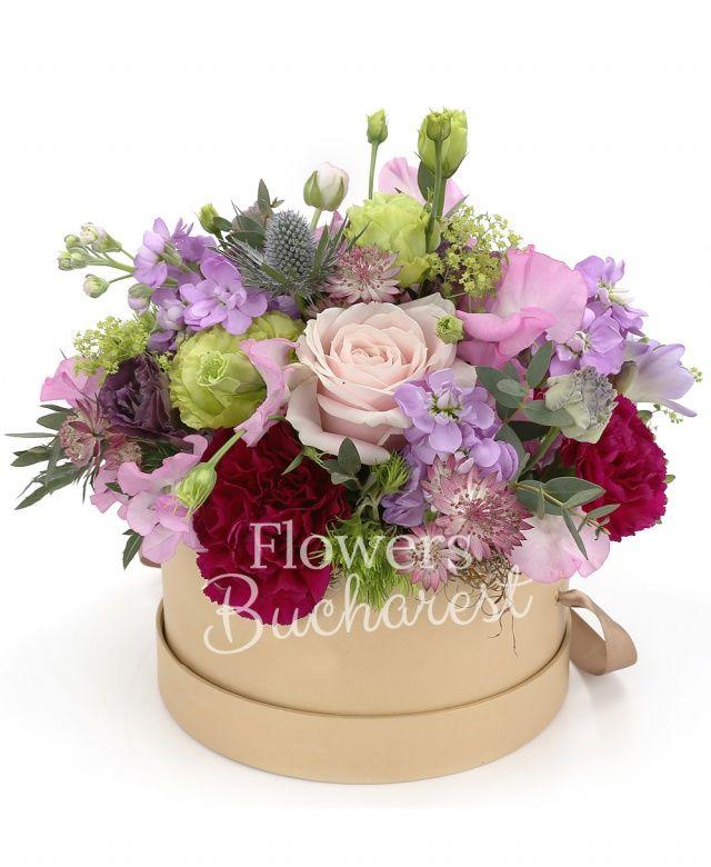 3 lisianthus verzi, 5 matthiola mov, 3 trandafiri roz, 3 dianthus green, 2 eryngium, 5 astranția, 5 garoafe cyclam, 3 lisianthus roz, bupleurum, eucalypt, cutie lux