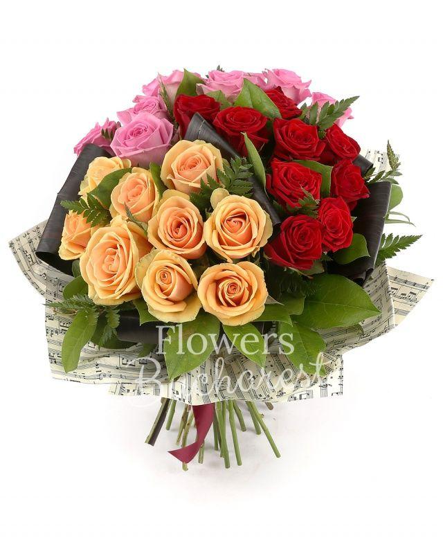 9 trandafiri rosii, 9 trandafiri roz, 9 trandafiri banan, salal, black tie