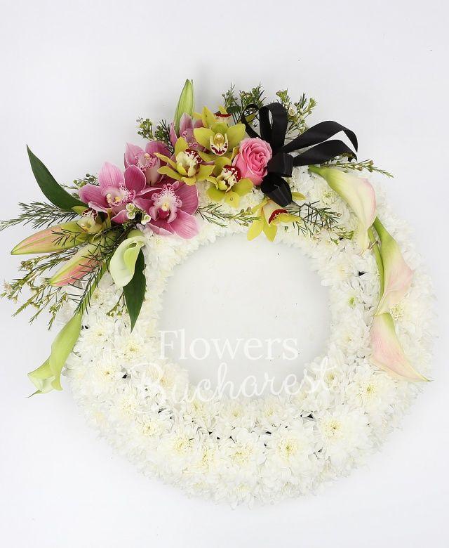 crizantemă alba, crini roz, cymbidium verde, cymbidium roz, calle roz, waxflower