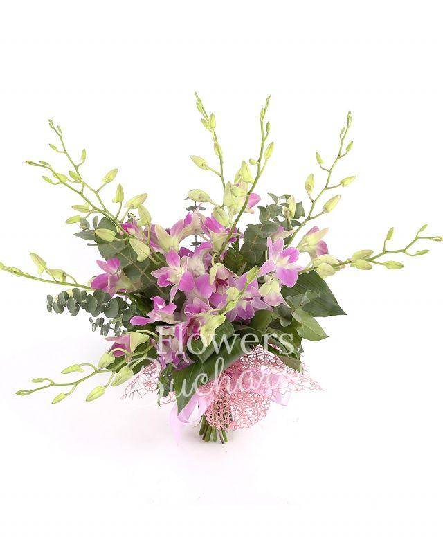 9 orhidee mov, eucalypt, aspidistra, salal