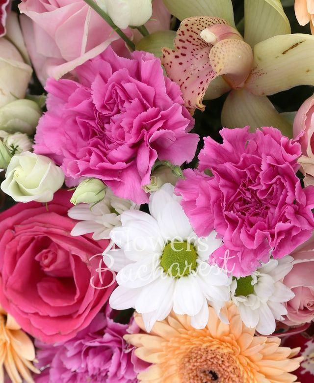 5 bouvardia alba, 8 gerbera crem, 12 garoafe roz, 10 trandafiri albi, 5 trandafiri roz, 5 trandafiri mov, 3 trandafiri cyclam, 2 crizanteme albe, 5 lisianthus alb, cymbidium roz, cymbidium verde, coș