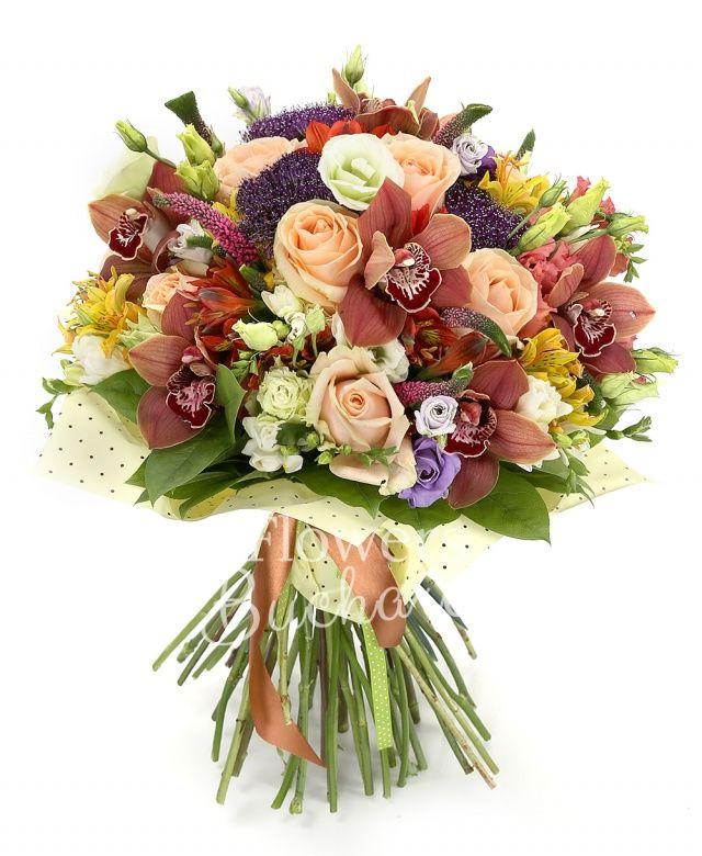 7 trandafiri peach, 3 trachelium mov, 5 veronica roz, 5 alstroemeria galbenă, 5 alstroemeria roșie, 5 lisianthus mov, 5 lisianthus roz, 7 frezii albe, 3 lisianthus verde, cymbidium grena, salal, ferigă