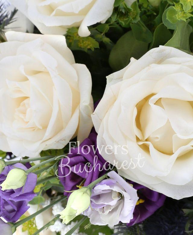 5 trandafiri albi, 3 lisianthus mov, 3 eryngium, 7 frezii albe, bupleurum verde, gypsophila, salal, cuib