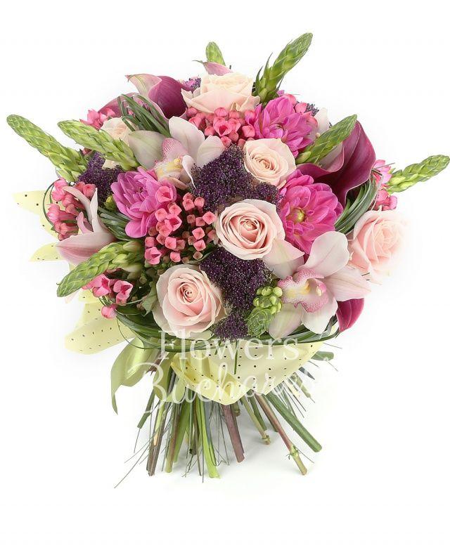 9 ornithogalum alb, 7 dalii roz, 7 trandafiri roz, 7 bouvardia roz, 7 cale roz, 7 trachelium mov, cymbidium alb, beargrass