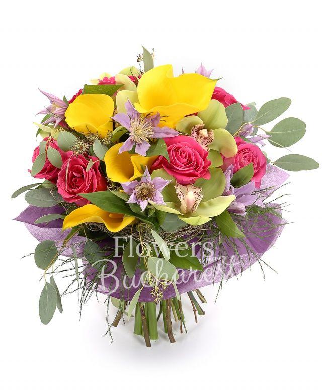 9 trandafiri cyclam, 5 cale galbene, 5 clematis, cymbidium verde, eucalypt, asparagus, salal, cuib