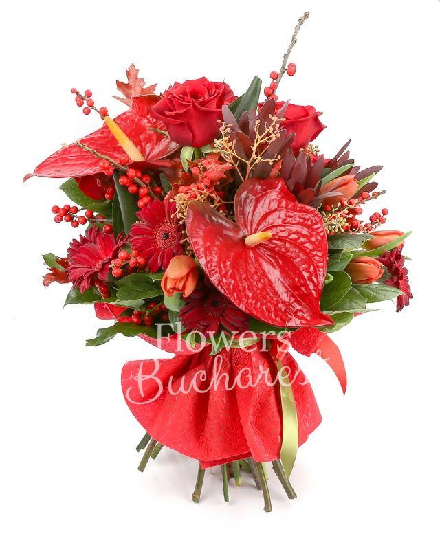4 trandafiri rosii, 2 leucadendron, 4 gerbera rosii, 4 lalele rosii, 2 anthurium rosii, 2 ilex, frunze arțar, eucalypt, salal