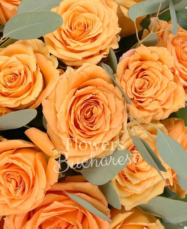 29 trandafiri portocalii, eucalypt, salal, cutie lux