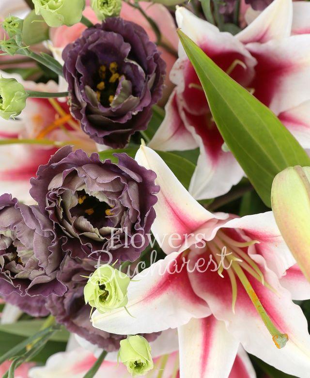 7 trandafiri roz, 3 crini roz, 7 lisianthus, salal, ferigă