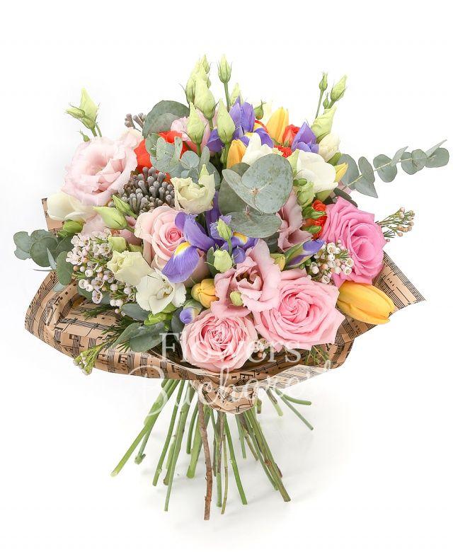 3 trandafiri roz, 5 lisianthus roz, 2 waxflower alb, 5 brunia, 5 iris, 3 miniroze portocalii, 5 lalele galbene, 5 frezii albe, eucalypt
