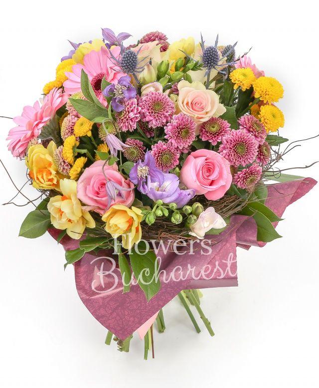 5 trandafiri roz, 5 santini mov, 5 santini galben, 3 gerbera roz, 2 eryngium, 5 frezii mov, 10 narcise galbene, 3 clematis mov, salal, cuib