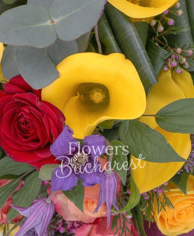 4 cale galbene, 3 trandafiri rosii, 4 trandafiri galbeni, 2 trandafiri portocalii, 2 clematis, 2 anthurium verde, 2 waxflower roz, 2 trachelium mov, eucalypt, salal, aspidistra