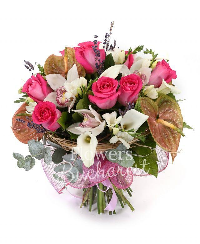 9 trandafiri cyclam, 4 anthurium verde, 5 cale albe, 10 frezii albe, cymbidium alb, lavanda, eucalypt, cuib