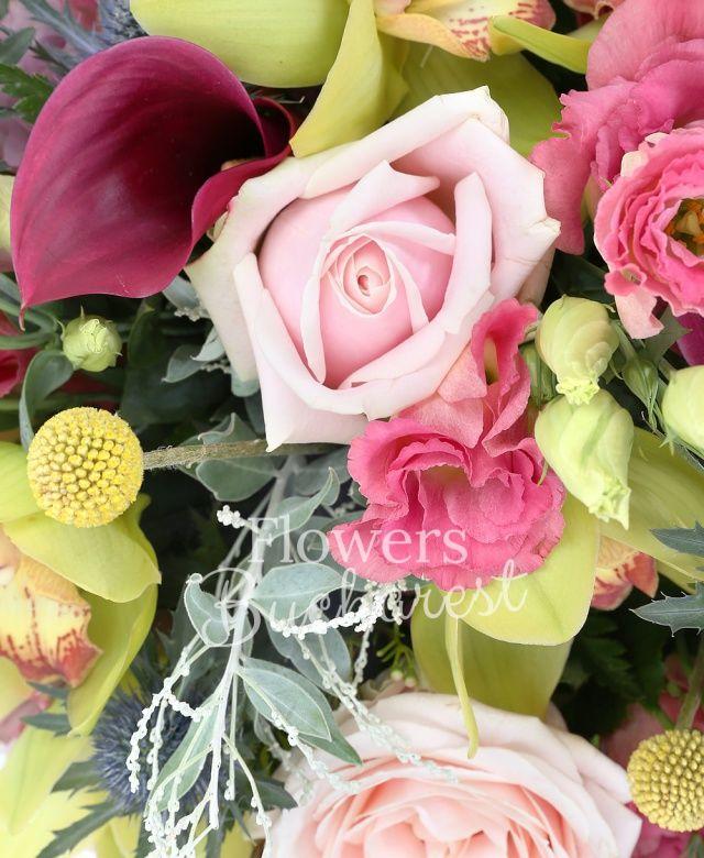 5 cale mov, 5 craspedia galbene, 3 trandafiri roz, 3 trandafiri mov, 5 lisianthus roz, 2 eryngium, cymbidium verde, waxflower, acacia, salal