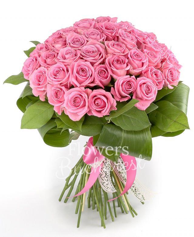 41 trandafiri roz, salal, aspidistra