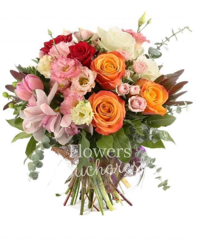 3 trandafiri portocalii, 3 trandafiri rosii, 3 trandafiri albi, cymbidium verde, cymbidium roz, 5 lalele roz, 3 hypericum verde, 3 leucadendron, 5 lisianthus roz, 3 miniroze roz, salal, eucalypt