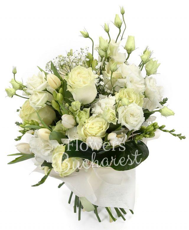 9 trandafiri albi, 5 lisianthus alb, 10 lalele albe, 10 frezii albe, gypsophila, cuib