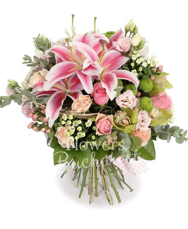 2 crini imperiali roz, 3 lisianthus roz, 5 bouvardia alba, 5 santini verzi, 5 hypericum roz, 5 lisianthus roz, 9 garoafe roz, 9 trandafiri roz, cymbidium verde, eucalypt, salal, cuib