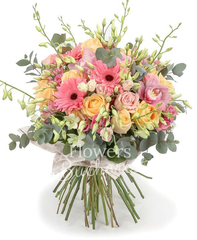 15 trandafiri somon, 10 trandafiri roz, 7 gerbera roz, 5 lisianthus roz, cymbidium, 10 dendrobium alb, eucalypt