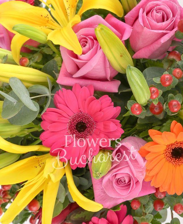 3 crini galbeni, 5 trandafiri roz, 6 hypericum rosii, 3 gerbera cyclam, 2 gerbera portocalii, 2 proteea, salal, eucalypt
