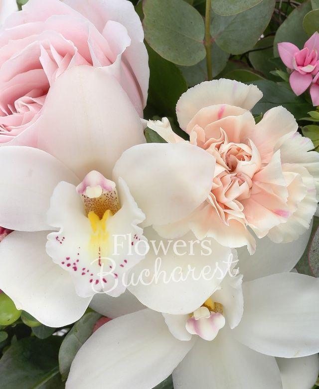 3 trandafiri roz, 2 lisianthus roz, 3 garoafe crem, 1 crin roz, 3 bouvardia roz, 3 hypericum verde, cymbidium alb, cymbidium verde, bupleurum, eucalypt, salal, cuib