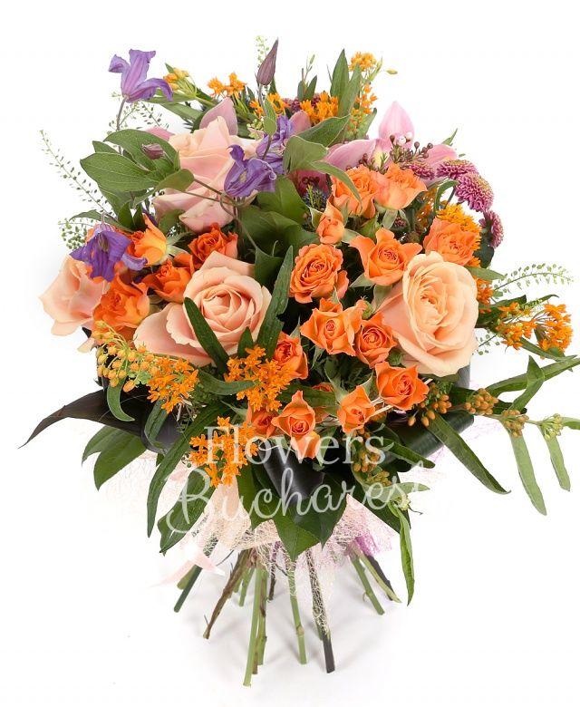 5 trandafiri peach, 5 miniroze portocalii, 3 santini roz, 3 clematis mov, 2 eryngium, 2 asclepias, waxflower, aspidistra, salal, cuib