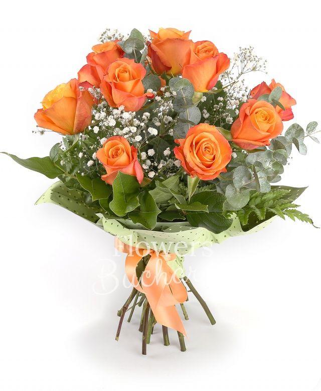 11 trandafiri portocalii, gypsophila, eucalypt, salal