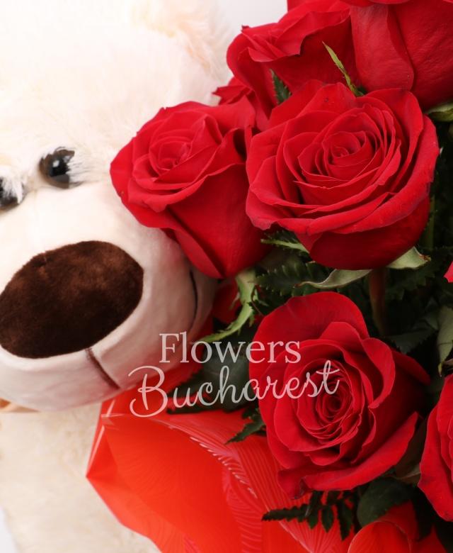 15 trandafiri rosii, urs mare, Ferrero Rocher