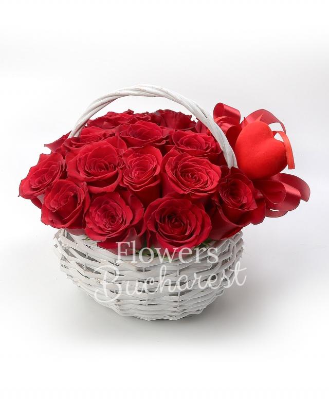 17 trandafiri rosii, 1 cos
