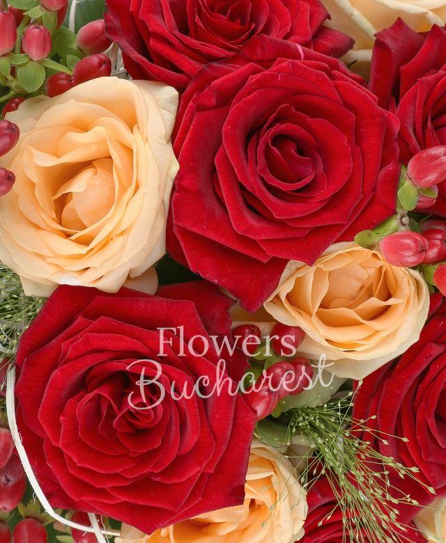 7 trandafiri rosii, 8 trandafiri banan, 5 hypericum roșu, panicum, aspidistra, cuib