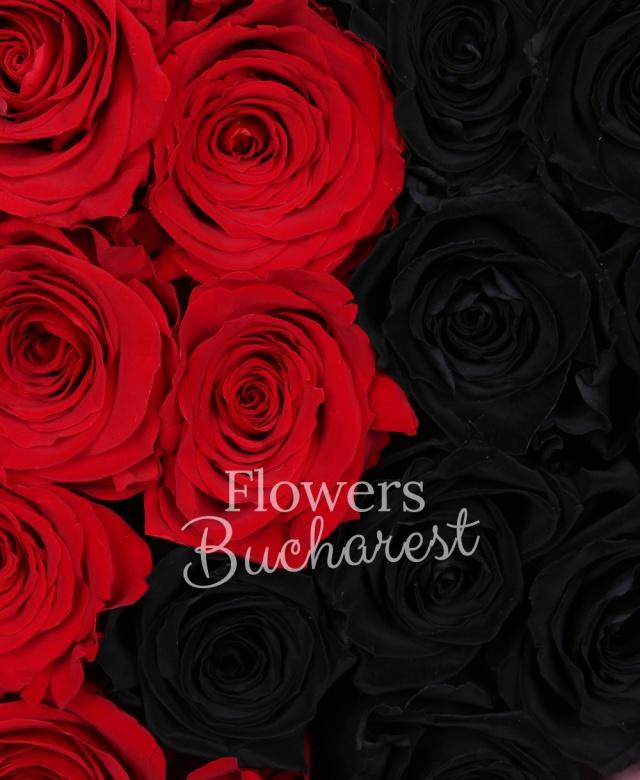 12 trandafir_criogenat_rosu, 9 trandafir_criogenat_negru, cutie_inima