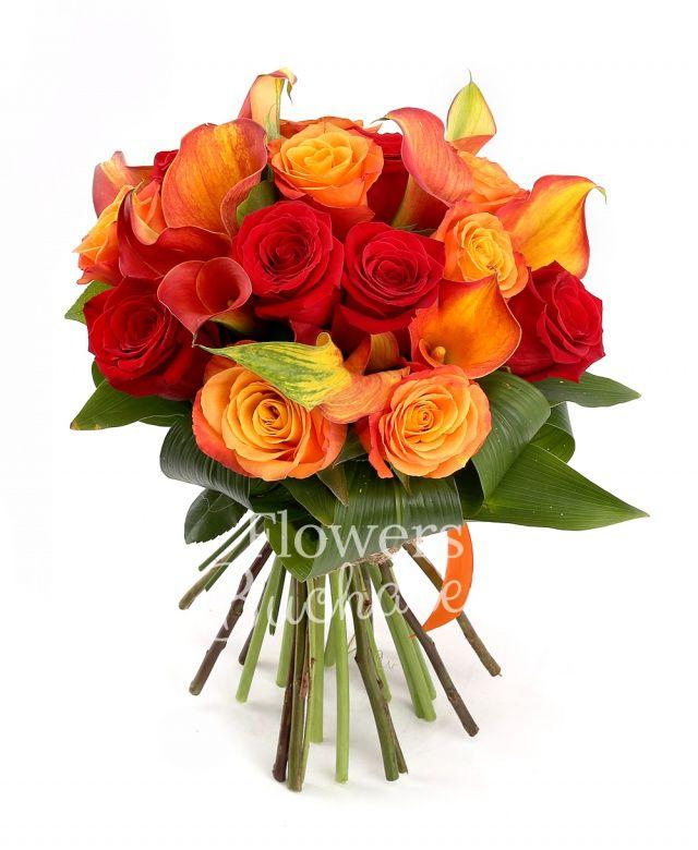 7 trandafiri rosii, 7 trandafiri portocalii, 9 cale portocalii, aspidistra, salal