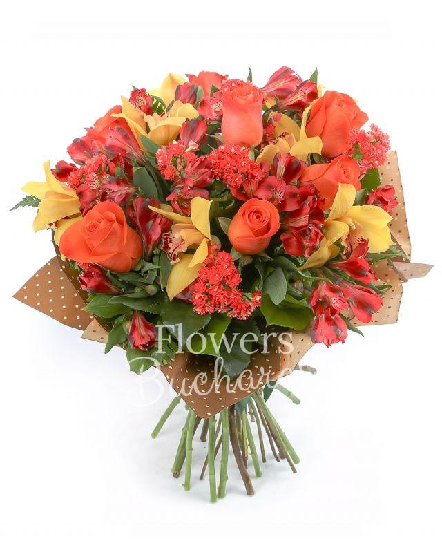 7 trandafiri portocalii, 7 alstroemeria roșie, 7 bouvardia roșie, cymbidium galben, salal