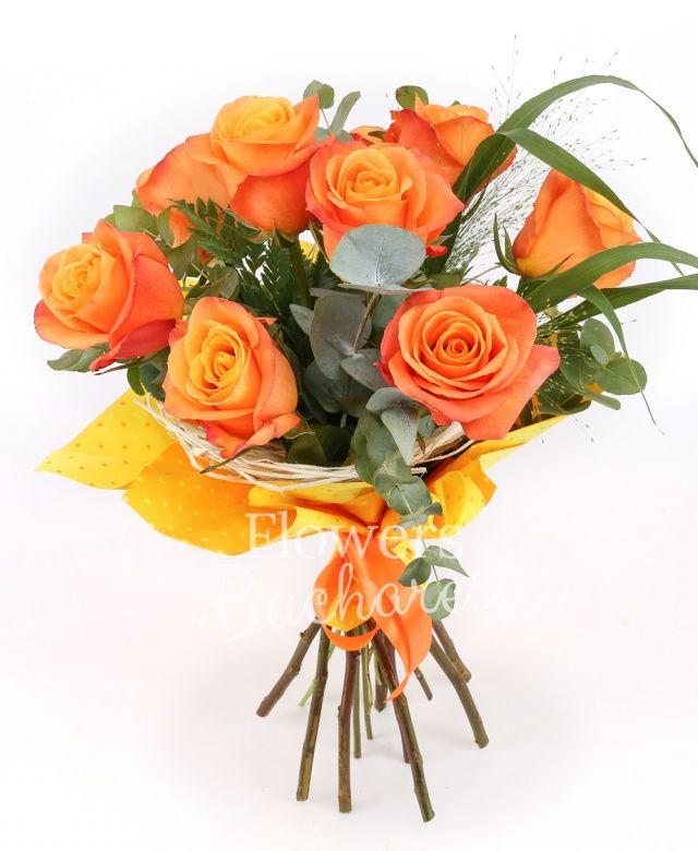 9 trandafiri portocalii, eucalypt, panicum, cuib