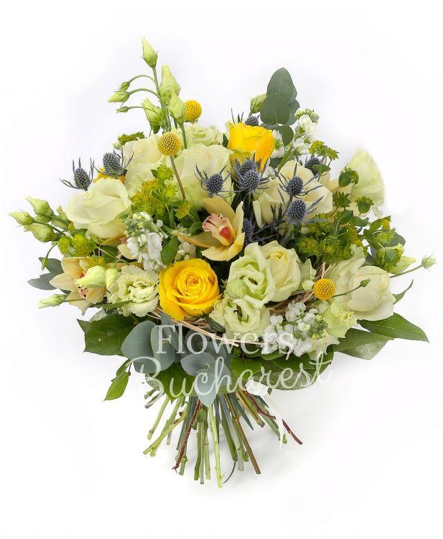 7 trandafiri albi, 3 trandafiri galbeni, 3 eryngium, 4 lisianthus alb, 5 matthiola alba,3 craspedia, bupleurum, cymbidium galben, eucalypt, salal, cuib