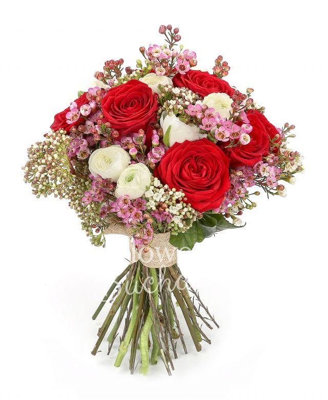 7 trandafiri rosii, 10 ranunculus alb, 5 sedum alb, waxflower roz
