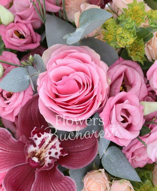 7 trandafiri roz, 3 miniroze crem, 5 lisianthus roz, cymbidium grena, bupleurum, salal, eucalypt