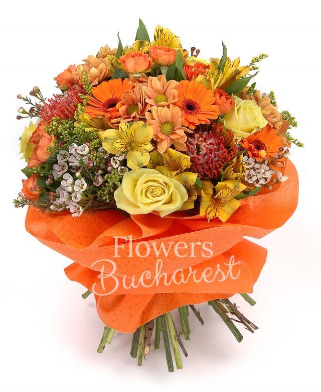 5 trandafiri galbeni, 3 leucospermum, 7 gerbera portocalie, 3 crizanteme portocalii, 5 miniroze portocalii, 5 alstroemeria galbenă, 3 solidago, waxflower alb